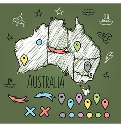 Doodle australia map on green chalkboard with pins vector
