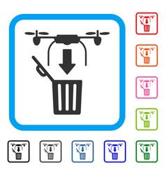 drone drop trash framed icon vector image