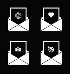 Envelope with icon on black vector