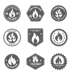 Fire shop emblems icons set black vector