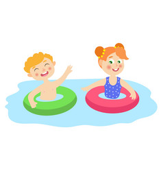 flat children in inflatable rings in pool vector image vector image