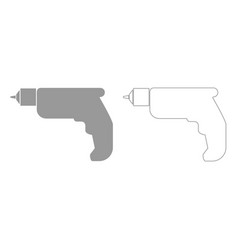 Hand drill grey set icon vector