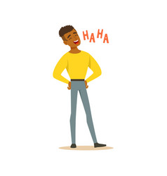 Happy black man laughing out loud colorful vector