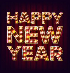 happy new year sign realistic retro shine vector image vector image