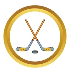 Hockey sticks and puck icon vector
