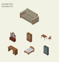 Isometric furnishing set of table cabinet vector
