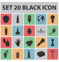 light source black icons in set collection for vector image