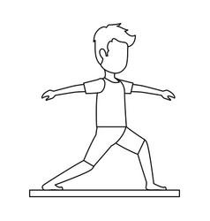 Man practicing yoga avatar vector
