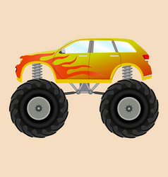 monster car with a flame sticker vector image