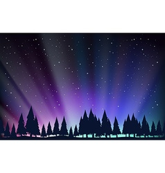 Night scene with trees and stars vector image vector image