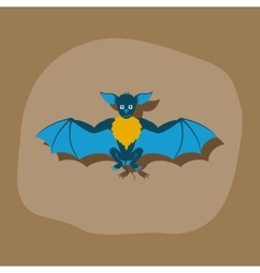 paper sticker on stylish background cute bat vector image vector image