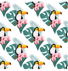 Pattern with toukan and orchid vector