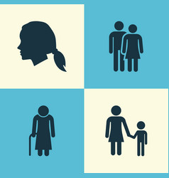 Person icons set collection of family old woman vector