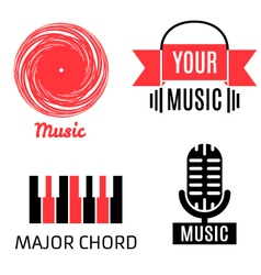 Set of four graphic monochrome music logotypes vector