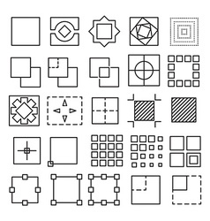Set of square and rectangle experimental icons vector