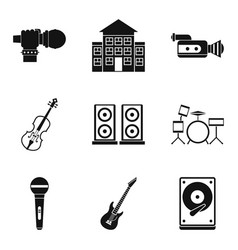 stage performance icons set isometric style vector image