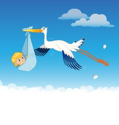 Stork delivering baby vector image vector image