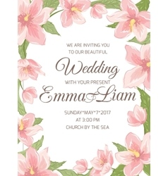 Wedding invitation magnolia sakura border frame vector image vector image