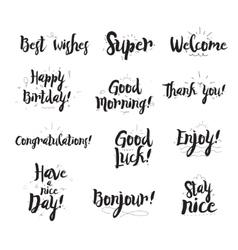 Welcome thank you enjoy super good morning vector image