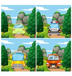 Scenes with different cars on the road vector image