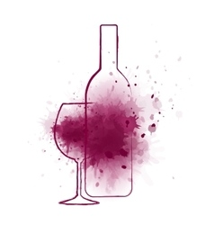 Wine bottle and grape splash vector