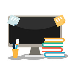 A computer with books and stationery vector