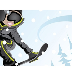 Girl snowboarder vector