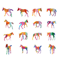 Set of colorful silhouettes of foals vector
