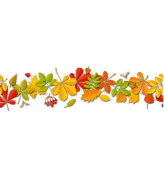 Seamless border autumn falling leaf background vector