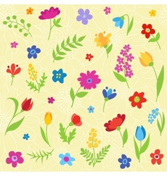 Beautiful seamless pattern with spring flowers vector image