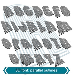 3d retro typeset with lines in rotation uppercase vector