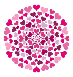 Round pattern with hearts vector