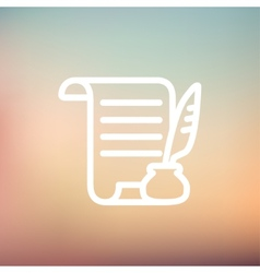 Paper scroll with feather pen thin line icon vector
