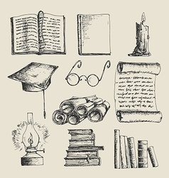 Education sketch icons vector