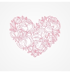 Heart of flowers roses vector