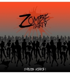 Zombie silhouettes crowd walking forward vector