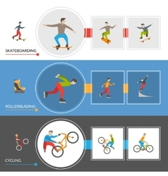 Horizontal extreme city sports banners vector