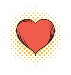 Red heart comics icon vector