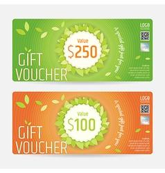 Gift voucher gift certificate green orange nature vector