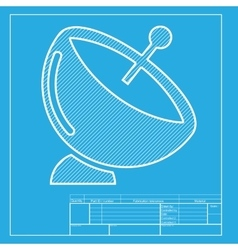Satellite dish sign white section of icon on vector