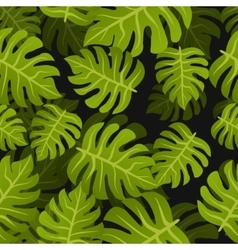 Seamless tropic leafs background floral summer vector