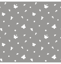 White butterflies seamless pattern vector