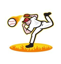 Baseball pitcher throwing ball on fire vector