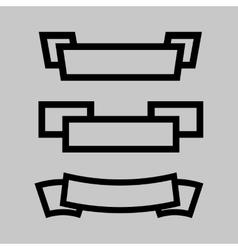 black ribbon icon set vector image vector image