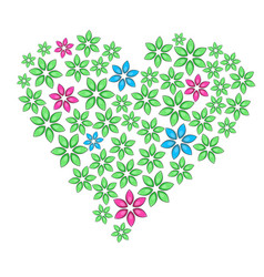 Cartoon floral heart with green leaves and vector