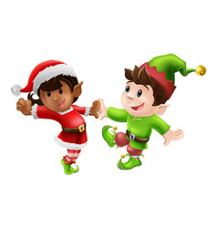 Christmas elves dancing vector
