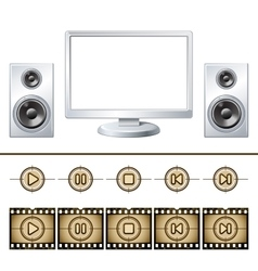 Computer with speaker isolated media buttons vector