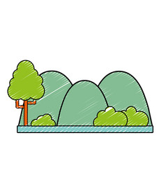 Countains with tree and ecology landscape vector