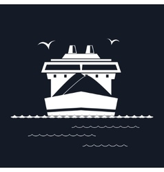 Dry cargo ship isolated on black vector