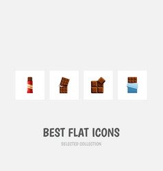 Flat icon chocolate set of cocoa bitter wrapper vector